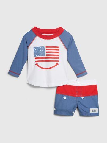 בגד ים שני חלקים בהדפס דגל ארצות הברית / 0-24M