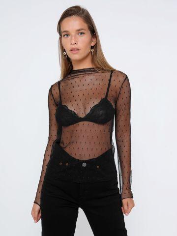 חולצת רשת בדוגמת נקודות