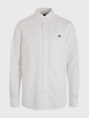 חולצה מכופתרת עם רקמת לוגו ' של BANANA REPUBLIC