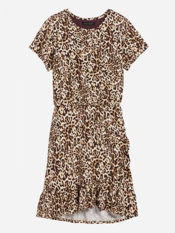 שמלת מיני פפלום בסגנון מעטפת ובהדפס מנומר / נשים של BANANA REPUBLIC