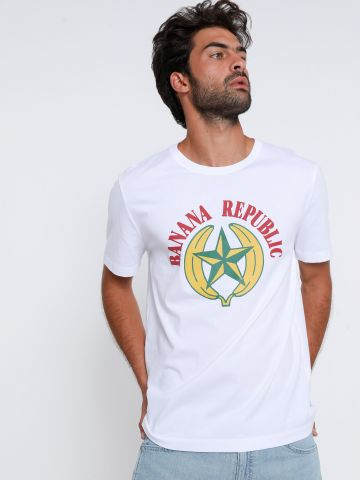 טי שירט עם הדפס לוגו של BANANA REPUBLIC