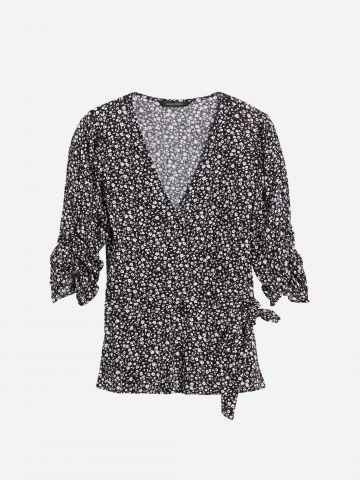 חולצה נשפכת בסגנון מעטפת ובהדפס פרחים / נשים של BANANA REPUBLIC