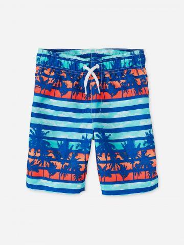 מכנסי בגד ים בהדפס פסים ועצים / בנים