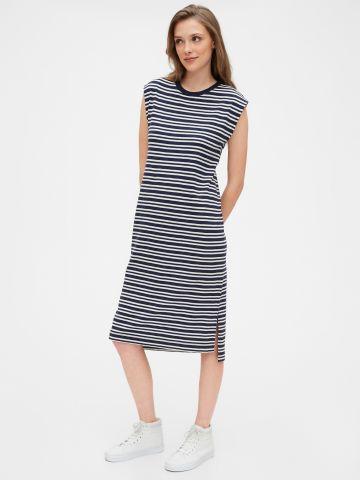 שמלת מידי בהדפס פסים ללא שרוולים