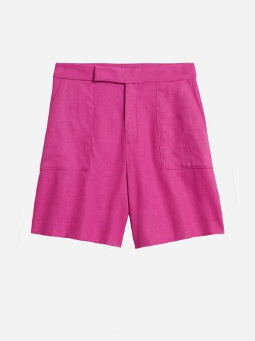 מכנסי פשתן בגזרה גבוהה / נשים של BANANA REPUBLIC