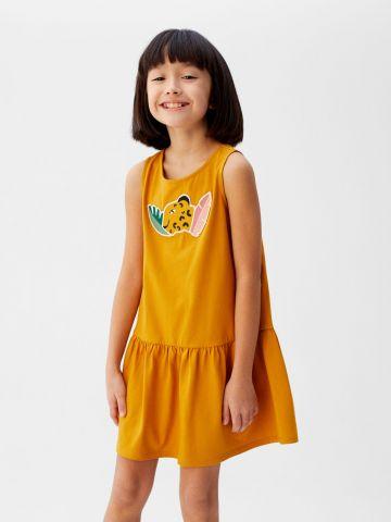 שמלה עם רקמת ג'ונגל