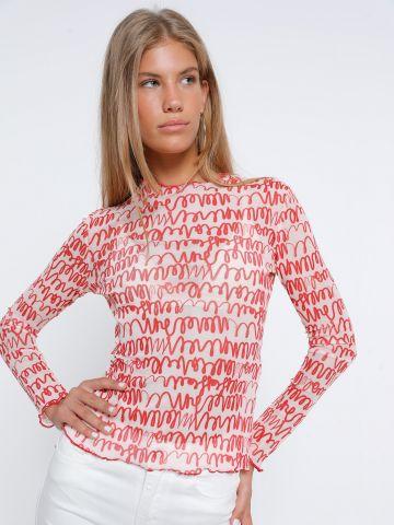 חולצת רשת בהדפס סלסולים של GLAMOROUS