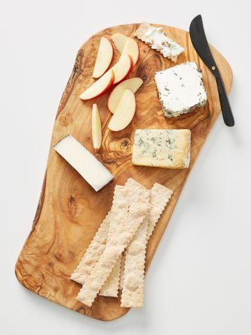 סט מגש גבינות וסכין מריחה מעץ