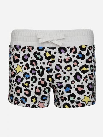 מכנסי טרנינג קצרים בהדפס חברבורות עם לוגו / בנות
