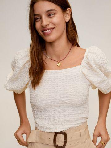 חולצת קרפ עם שרוולי בלון של MANGO