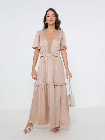 שמלת מקסי קומות עם שרוולים רחבים