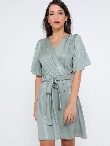 שמלת מיני מעטפת דמוי עור נחש