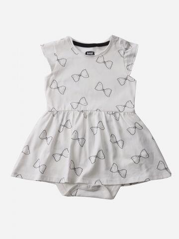 שמלת בגד גוף בהדפס פפיונים / 3M-24M