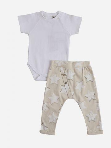 סט בגד גוף ומכנסיים ארוכים בהדפס כוכבים / 6M-24M