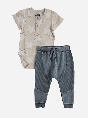 סט בגד גוף בהדפס כוכבים ומכנסיים ארוכים / 6M-24M