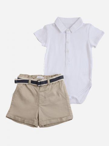 סט בגד גוף ומכנסיים קצרים / 6M-24M