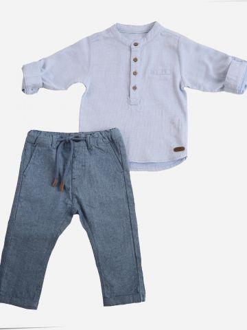 סט חולצה ארוכה עם כפתורים ומכנסיים ארוכים / 6M-24M של MINENE