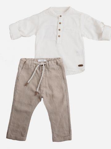 סט חולצה ארוכה עם כפתורים ומכנסיים ארוכים / 6M-24M