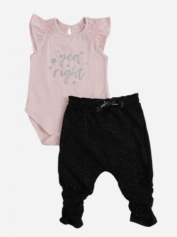 סט בגד גוף עם מלמלה ומכנסיים עם כיווצים / 6M-24M של MINENE