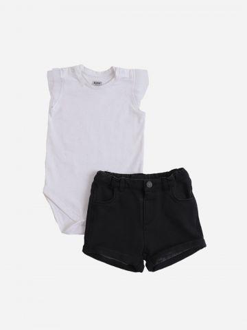 סט בגד גוף מנצנץ ומכנסיים קצרים דמוי ג'ינס / 6M-24M של MINENE