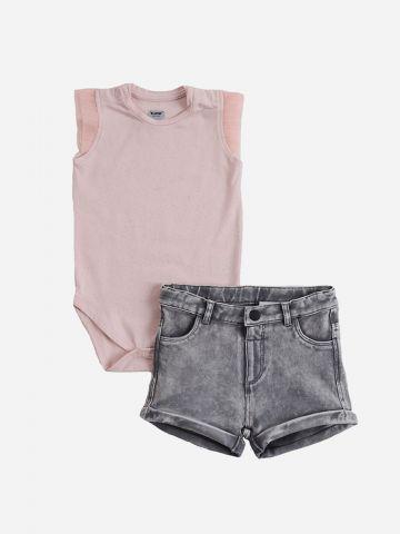סט בגד גוף מנצנץ ומכנסיים קצרים דמוי ג'ינס / 6M-24M