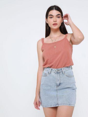 חצאית ג'ינס מיני בשטיפה בהירה של TERMINAL X