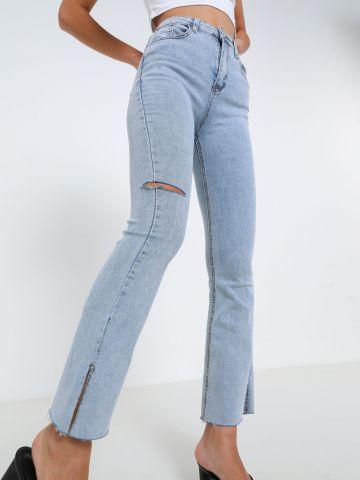 ג'ינס בשטיפה בהירה עם שסעים של TERMINAL X