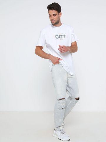 ג'ינס Slim בשטיפה בהירה עם קרעים BDG