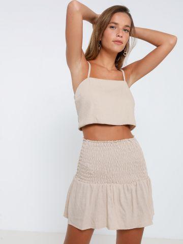 חליפת גופיית קרופ וחצאית מיני