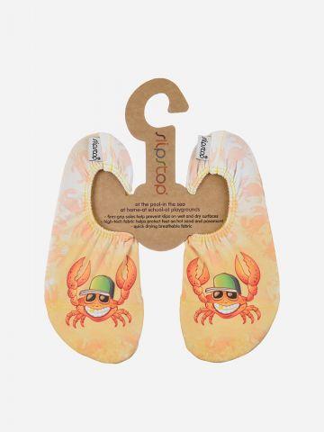 נעלי בד מונעות החלקה בהדפס סרטנים / בנים