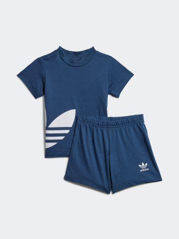 סט טי שירט ומכנסיים עם הדפס לוגו / 3M-4Y