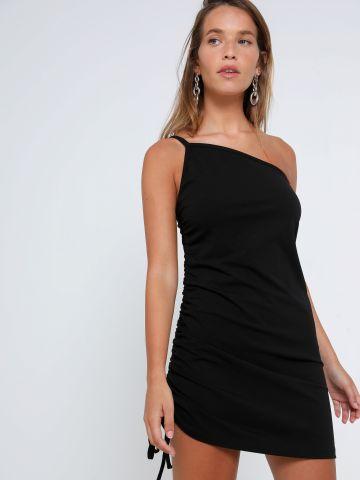 שמלת מיני וואן שולדר עם כיווץ