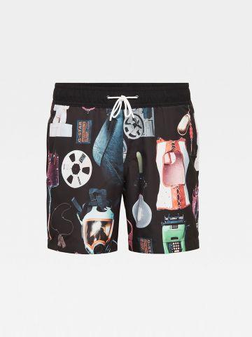 מכנסי בגד ים עם הדפס איורים