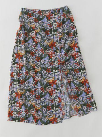 חצאית מידי סאטן פרחים UO