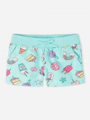 מכנסיים קצרים בהדפס איורים / בנות