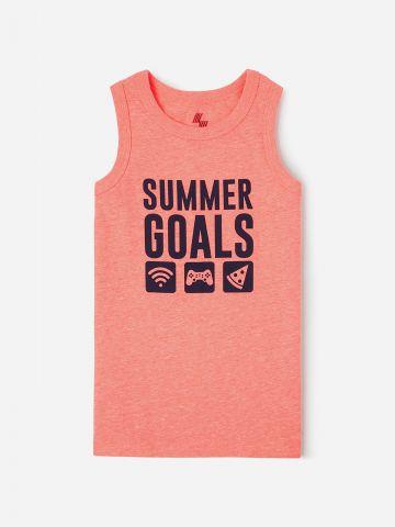 גופייה עם הדפס Summer Goals / בנים