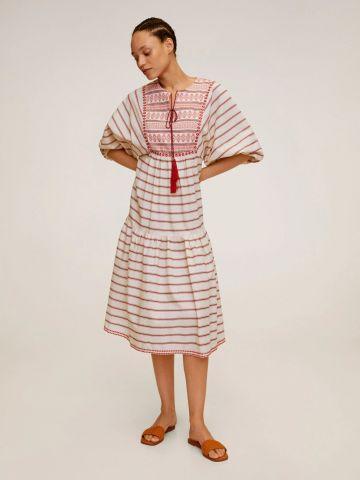 שמלת מידי קומות בהדפס פסים עם רקמה של MANGO