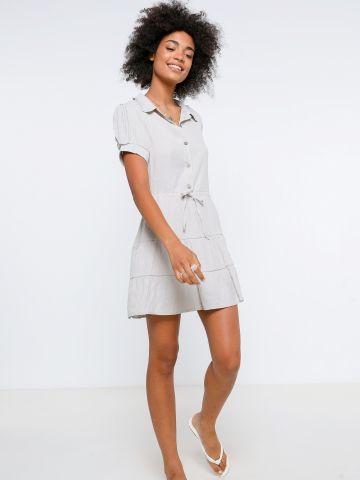 שמלת מיני דמוי פשתן עם כפתורים של YANGA