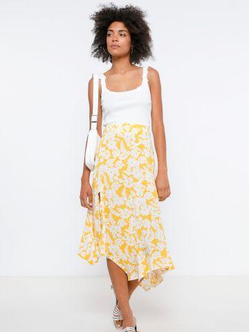 חצאית מידי אסימטרית בהדפס פרחים של YANGA