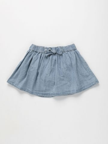 חצאית ג'ינס מתרחבת עם פפיון / 3M-3Y של FOX