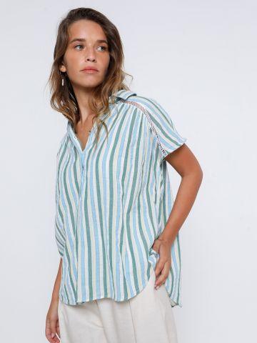 חולצה בהדפס פסים עם כפתורים של ANTHROPOLOGIE