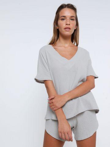 חליפת דמוי פשתן חולצה ומכנסיים קצרים של TERMINAL X