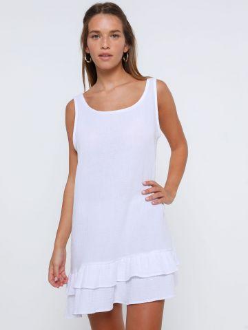 שמלת מיני פפלום דמוי פשתן של TERMINAL X