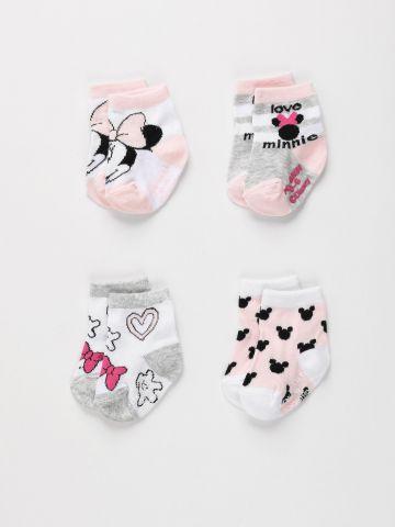 מארז 4 זוגות גרביים מיני מאוס / בייבי בנות של FOX