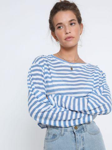 חולצת קרופ פסים שקפקפה של TERMINAL X
