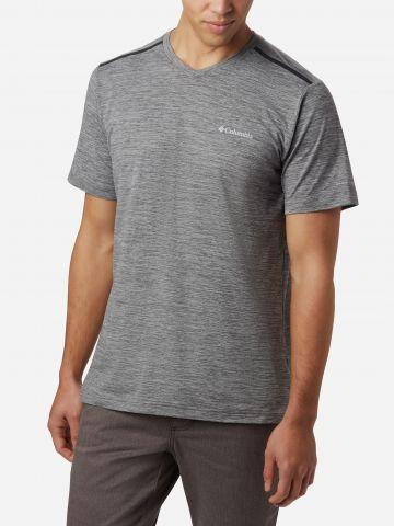 חולצת ריצה מלאנז' עם לוגו של COLUMBIA