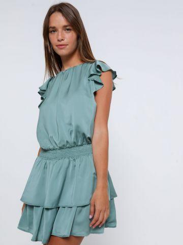 שמלת מיני סאטן עם מלמלה של YANGA