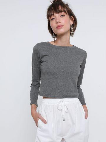 חולצת קרופ שרוולים ארוכים של TERMINAL X