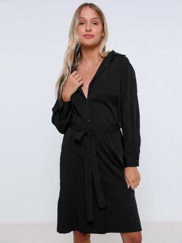 שמלת מידי מכופתרת עם חגורה של TERMINAL X