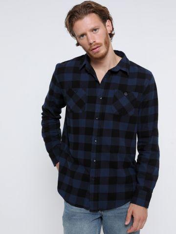 חולצה מכופתרת בהדפס משבצות של FOX